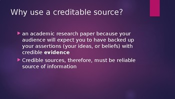 What is a Creditable source