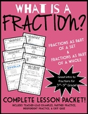 What is a Fraction? Introduction to Fractions 4th Grade Lesson Packet & Quiz