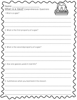 What is a Gas?- 5E Lesson Plan, Differentiated Text, Comprehension Questions
