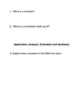 What is a Genetic Mutation? Common Core activities