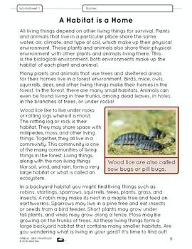 What is a Habitat? Lesson Plan Grade 4