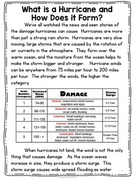 What is a Hurricane?  Science Informational Reading
