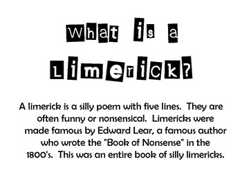 What is a Limerick - Poetry Activity