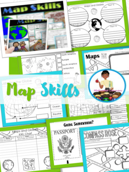 Oceans and continents labeled map teaching resources teachers pay continents map skills maps and globes map activities geography oceans continents gumiabroncs Choice Image