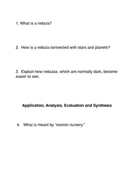 What is a Nebula?  Common Core Reading and Writing Activity