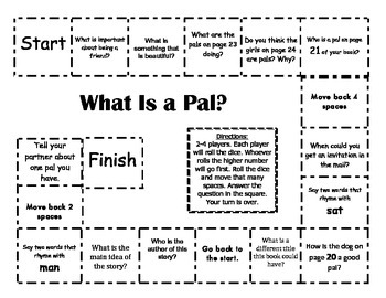 """""""What is a Pal?"""" Comprehension Game Board- Journeys story 1st grade"""