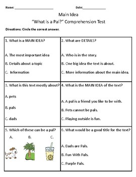 What is a Pal? Vocabulary & Comprehension Test/Quiz (1st Grade Journeys)