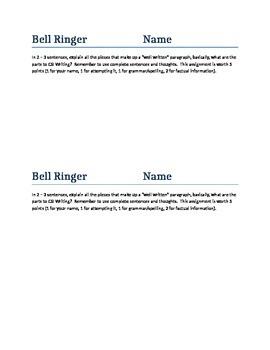 What is a Paragraph Bellringer