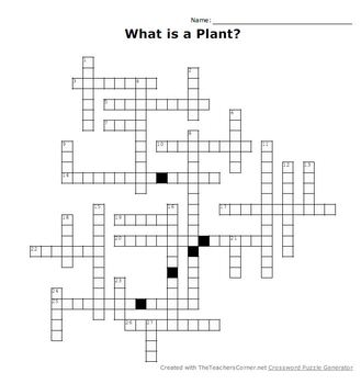 What is a Plant? Crossword Puzzle