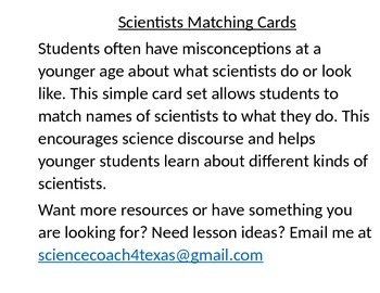 What is a Scientist? Matching Card set