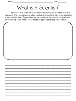 What is a Scientist? Writing and Drawing Activity