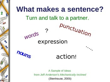Slideshow exploring the basic sentence structure.  LOTS of Common Core skills!