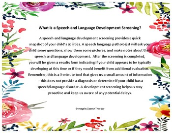 What is a Speech and Language Screening? Handout FREE