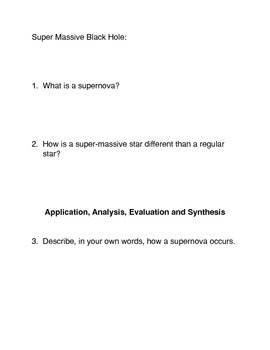 What is a Supernova?  Common Core Reading and Writing Activity