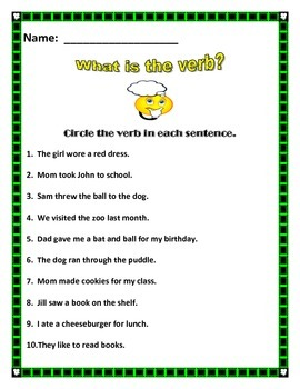 What is a VERB?  Aligned with common core.