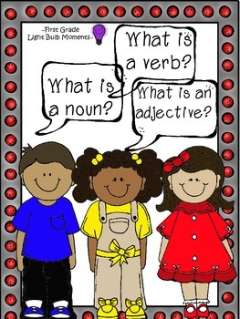 What is a noun, verb, and adjective?