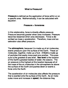 What is Pressure? 8th Grade Common Core Reading and Writin
