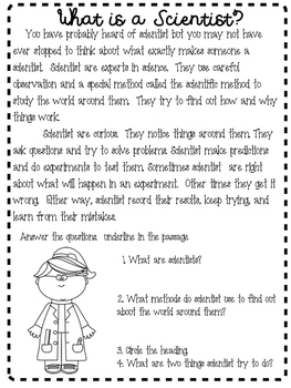 What is a scientist comprehension sheet