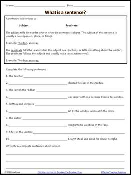 What is a sentence? Worksheet for Grades 3 to 6