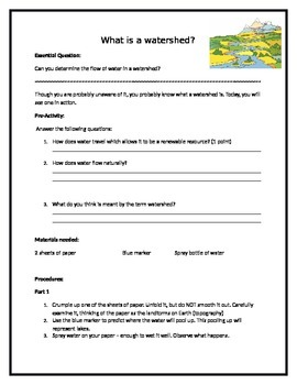 What is a watershed? Hands on activity