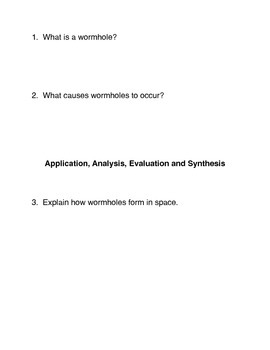 What is a wormhole? Common Core Reading and Writing Activity