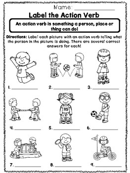 What is an Action Verb? - Print and Go Unit