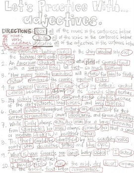 What is an Adjective?- Grammar CLOZE Notes and Practice (Great for ESL!)