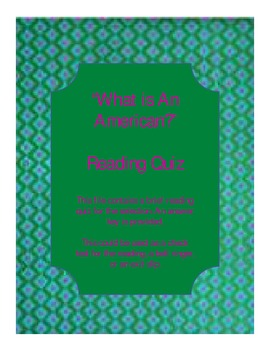"""Crevecoeur's """"What is an American?"""" Reading Quiz"""
