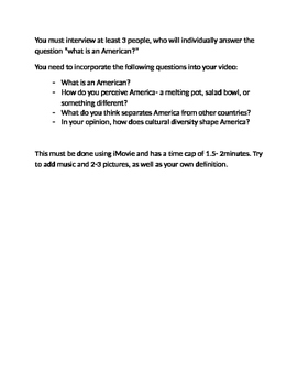 What is an American? Video project