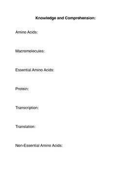 What is an Amino Acid?  Common Core Activities