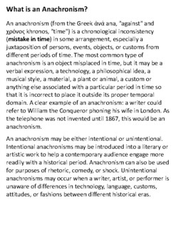 What is an Anachronism Handout with activities by Steven\'s Social ...