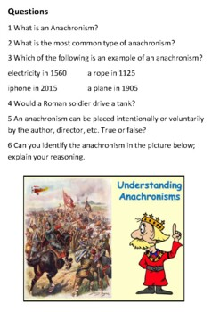 What is an Anachronism Handout with activities
