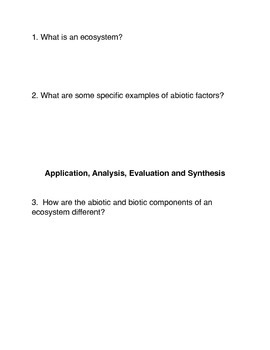 What is an Ecosystem? Common Core activities