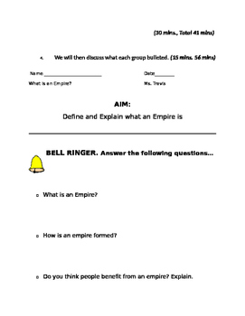 What is an Empire? Lesson plans with readings and graphic organizer