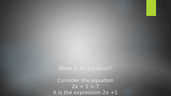 What is an Equation?  Powerpoint