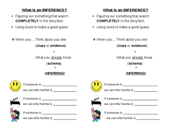 What is an Inference Anchor Chart Handout