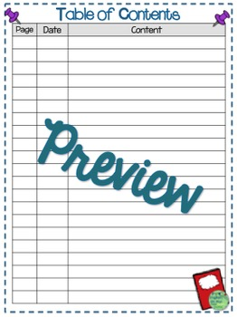 Interactive Notebooks-Starter Kit, Introduction Sheet, Table of Contents