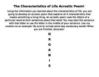 What is an Organism Acrostic Poem! The Characteristics of Life