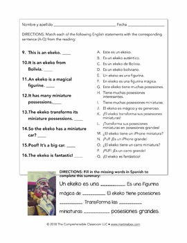What is an ekeko? Reading & activities for Spanish week 1