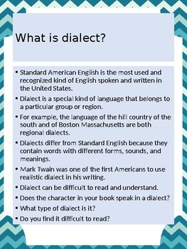 What is dialect poster, printable, minilesson