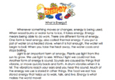 What is energy? -  Reading comprehension passage and short answer questions
