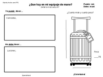 What is in my luggage? An activity in Spanish