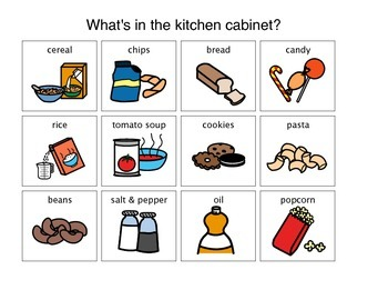 """""""What is in the Kitchen Cabinet?"""" Matching Activity"""