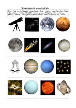 What is in the Space? 25 Space Elements - A Worksheet