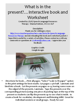 What is in the present?  Interactive book and Worksheet Pa