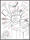 What is in your desk? Printable picture with Spanish labels