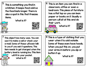 Making Inferences Task Cards ~ What is it? Riddles with Optional QR Codes