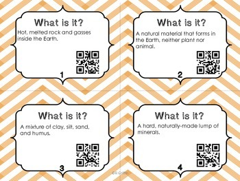 What is it? Soil, Rocks & Minerals Vocabulary with QR Codes