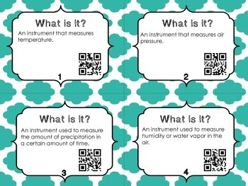What is it?  Weather Vocabulary with QR codes