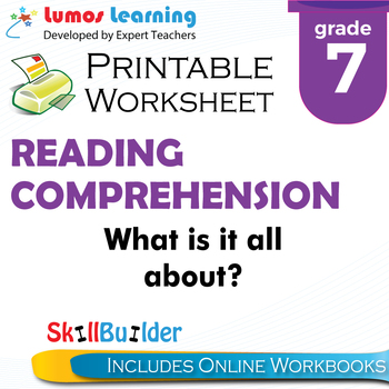 What is it all about? Printable Worksheet, Grade 7
